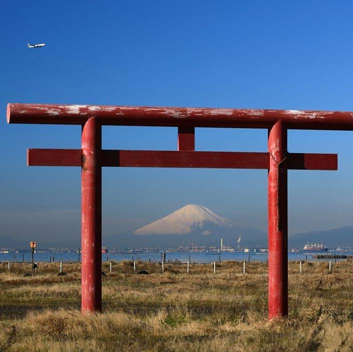 鳥居富士山-久津間海岸