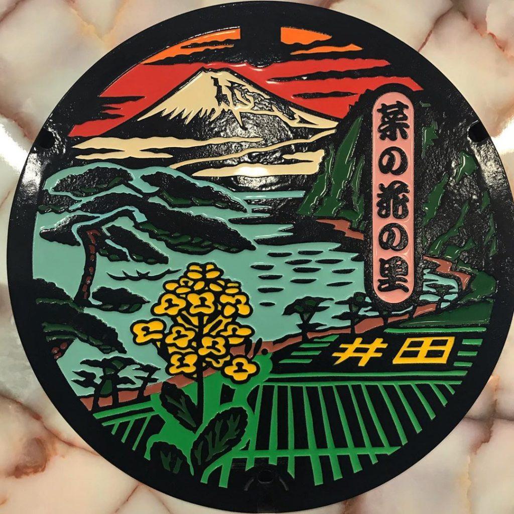 富士山人孔蓋_井田地區油菜花田與夕陽富士