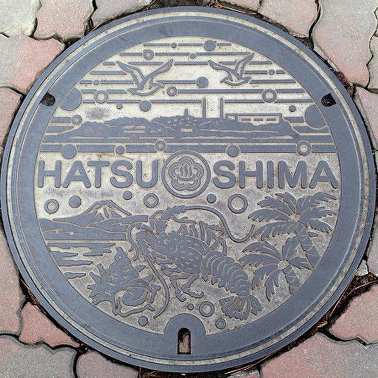 富士山人孔蓋_初島風景(龍蝦、海螺、棕櫚、市鳥)