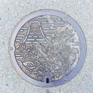 富士山人孔蓋_富士吉田市市花與市鳥