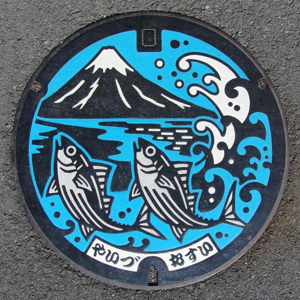 富士山人孔蓋_焼津漁港與跳躍的鰹魚