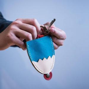 富士山鑰匙包_茶皮
