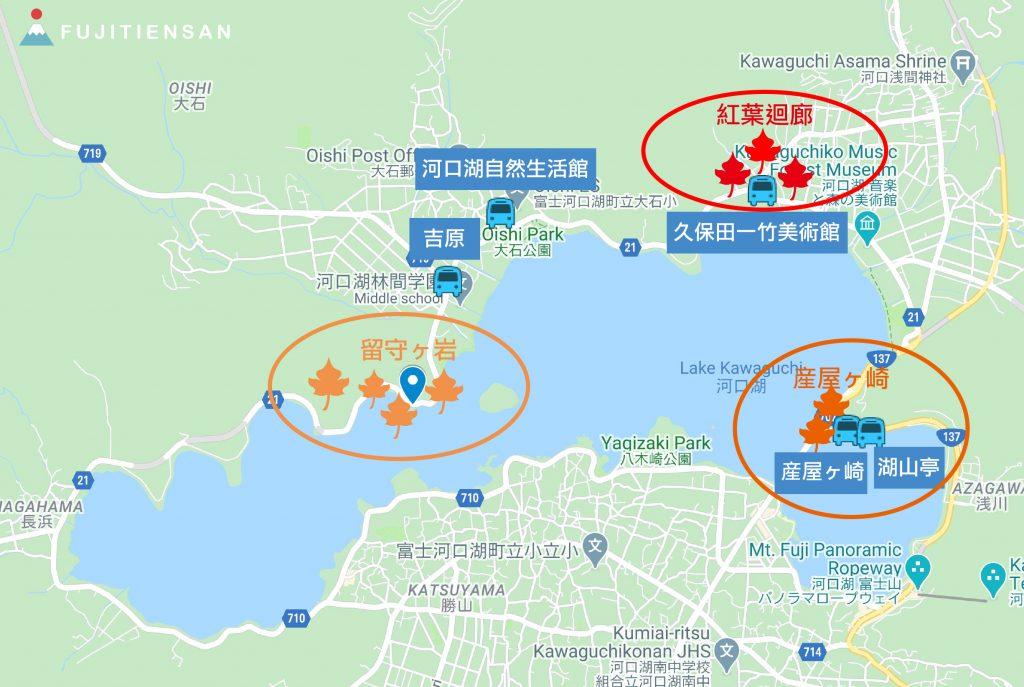河口湖紅葉祭富士山地圖